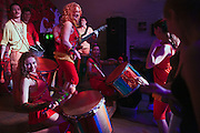 Moscow, Russia, 31/03/2012..Carnival music band Maracatu perform at the FAQ Cafe.