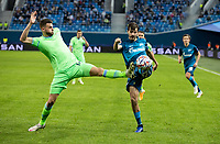 SAINT PETERSBURG, RUSSIA - NOVEMBER 04: Wesley Hoedt of SS Lazio tussles with Magomed Ozdoyev of Zenit St Petersburg during the UEFA Champions League Group F stage match between Zenit St. Petersburg and SS Lazio at Gazprom Arena on November 4, 2020 in Saint Petersburg, Russia. (Photo by MB Media)