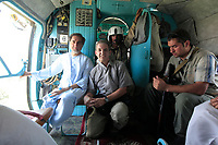 Jack Gruber with Abdullah Abdullah during campaign flights on MI-17 aircraft during 2009 Afghan Presidential Elections.
