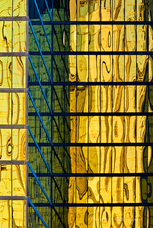 Close-up view of window reflections of office building, Las Vegas, Nevada