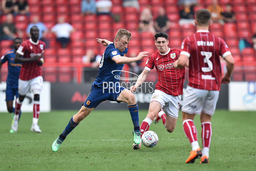 Jarrod Bowen (20) of Hull City on the attack during the EFL Sky Bet Championship match between Bristol City and Hull City at Ashton Gate, Bristol, England on 21 April 2018. Picture by Graham Hunt.