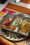 Trout rolls and zucchini, Inca Rail, train ride, Sacred Valley; Cusco Region; Urubamba Province; Machupicchu District; Peru