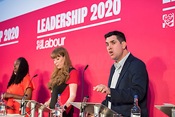 © Licensed to London News Pictures. 01/02/2020. Bristol, UK. DAWN BUTLER, ANGELA RAYNER and RICHARD BURGON at the Labour Party Deputy Leadership Hustings, at Ashton Gate Stadium. Deputy Leadership Candidates: Dr Rosena Allin-Khan, Dawn Butler, Angela Rayner, Richard Burgon, Ian Murray. Photo credit: Simon Chapman/LNP.