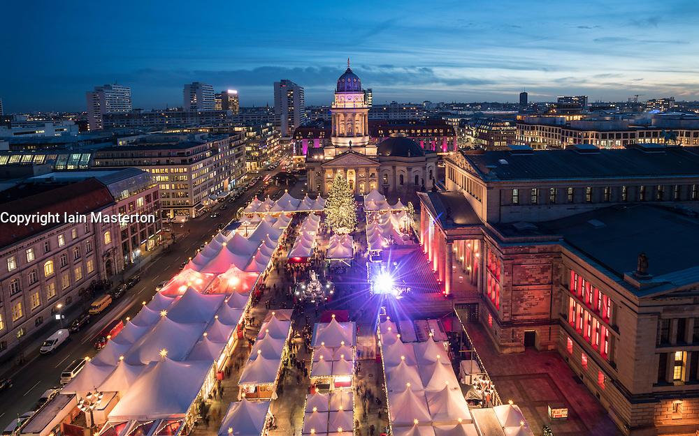 Christmas Market at night at Gendarmenmarkt in Mitte Berlin, Germany 2016