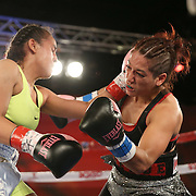 Nydia Feliciano (L) catches Noemi Bosques with a left hook during a Telemundo Boxeo boxing match at the A La Carte Pavilion on Friday,  March 13, 2015 in Tampa, Florida.  Feliciano won the bout by split decision. (AP Photo/Alex Menendez)