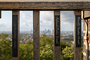 Location markers from Severndroog Castle viewing platform on the 6th October 2019 in London in the United Kingdom. Severndroog Castle is a folly situated in Oxleas Wood, on Shooters Hill in south-east London in the Royal Borough of Greenwich. It was designed by architect Richard Jupp, with the first stone laid on 2 April 1784.