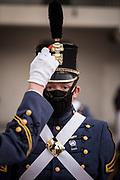 Knobs undergo a sunrise full dress personal appearance inspection in Padgett-Thomas Barracks at The Citadel in Charleston, South Carolina on Friday, April 9, 2021. <br /> <br /> Credit: Cameron Pollack / The Citadel