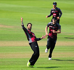 Peter Trego of Somerset celebrates the wicket of Ross Whitely.  - Mandatory by-line: Alex Davidson/JMP - 17/08/2016 - CRICKET - Cooper Associates County Ground - Taunton, United Kingdom - Somerset v Worcestershire Rapids - Royal London One Day Cup Quarter Final