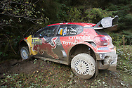 The crashed car of Esapekka Lappi(FIN)and Co/Driver Janne(FIN)Citroen C3 WRC during the Wales Rally GB at the Snowdonia National Park on 4 October 2019.Stage SS3 Penmachno