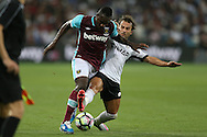 Filipe Teixeira of Astra Giurgiu challenges Michail Antonio of West Ham United. UEFA Europa league, 1st play off round match, 2nd leg, West Ham Utd v Astra Giurgiu at the London Stadium, Queen Elizabeth Olympic Park in London on Thursday 25th August 2016.<br /> pic by John Patrick Fletcher, Andrew Orchard sports photography.