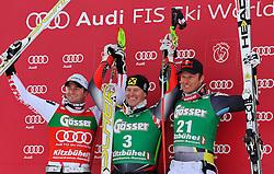 21.01.2011, Hahnenkamm, Kitzbuehel, AUT, FIS World Cup Ski Alpin, Men, Super G, im Bild // Georg Stretberger (AUT),  Ivica Kostelic (CRO), Aksel Lund Svindal (NOR) // during the men super g race at the FIS Alpine skiing World cup in Kitzbuehel, EXPA Pictures © 2011, PhotoCredit: EXPA/ S. Trimmel