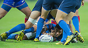 London, Great Britain, Noa NAKAITACI, moves the ball on the ground, during the Pool D game.  France vs Romania. 2015 Rugby World Cup. Venue. The Stadium Queen Elizabeth Olympic Park. Stratford. East London. England,, Wednesday  23/09/2015. <br /> [Mandatory Credit; Peter Spurrier/Intersport-images]
