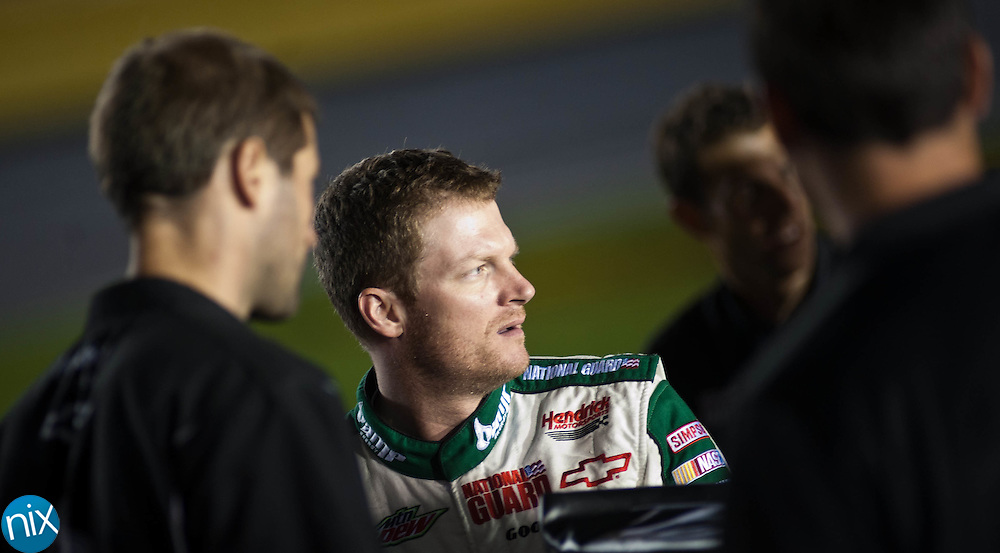Dale Earnhardt Jr. prior to qualifying for the Bank of America 500 during  Bojangles Pole Night at Charlotte Motor Speedway Thursday night. (Photo by James Nix)