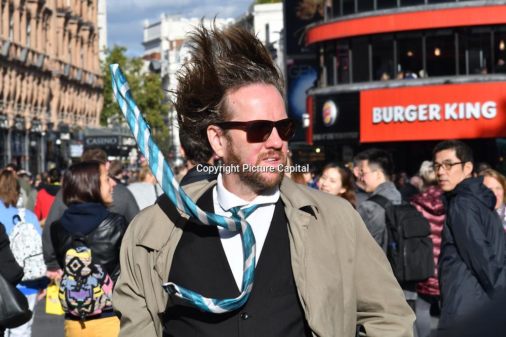 Busker at Leicester Square, London, UK 23 September 2018.