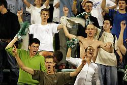 Revijalna tekma med NK Bezigrad (nekdanja Olimpija) in NK Maribor. Srecanje se je po zadetkih Klitona Bozga (61.) in Mateja Eterovica (33.) koncalo brez zmagovalca,  on September 2, 2005, za Bezigradom,  Ljubljana, Slovenia. Ze pred tekmo so se spopadli navijaci obeh ekip in v lokalu Wagons pub v Zupancicevi jami povzrocili pravo razdejanje. (Photo by Vid Ponikvar / Sportida)