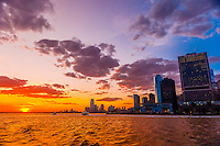 Lower Manhattan at sunset, New York, New York USA.