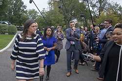 October 5, 2018 - Washington, District of Columbia, U.S. - White House Press Secretary SARAH HUCKABEE SANDERS speaks to the media outside the west wing of the White House. (Credit Image: © Tasos Katopodis/CNP via ZUMA Wire)