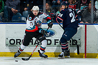 KELOWNA, BC - MARCH 7: Jonas Peterek #27 of the Kelowna Rockets intercepts the puck from Dylan Cozens #24 of the Lethbridge Hurricanes during third period at Prospera Place on March 7, 2020 in Kelowna, Canada. (Photo by Marissa Baecker/Shoot the Breeze)