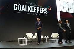 Former US President Barack Obama, Melinda Gates and Bill Gates appear on stage during the Bill and Melinda Gates foundation's Goalkeepers 2017 at Jazz at Lincoln Center in New York.