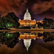 The Capitol Reflecting Pool at night, Washington, D.C.