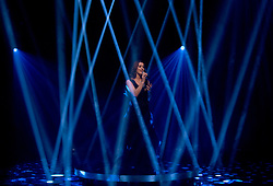 "Lucie Jones performing the UK's Eurovision entry, ""Never Give Up on You"" during the filming of the Graham Norton Show at The London Studios, to be aired on BBC One on Friday."