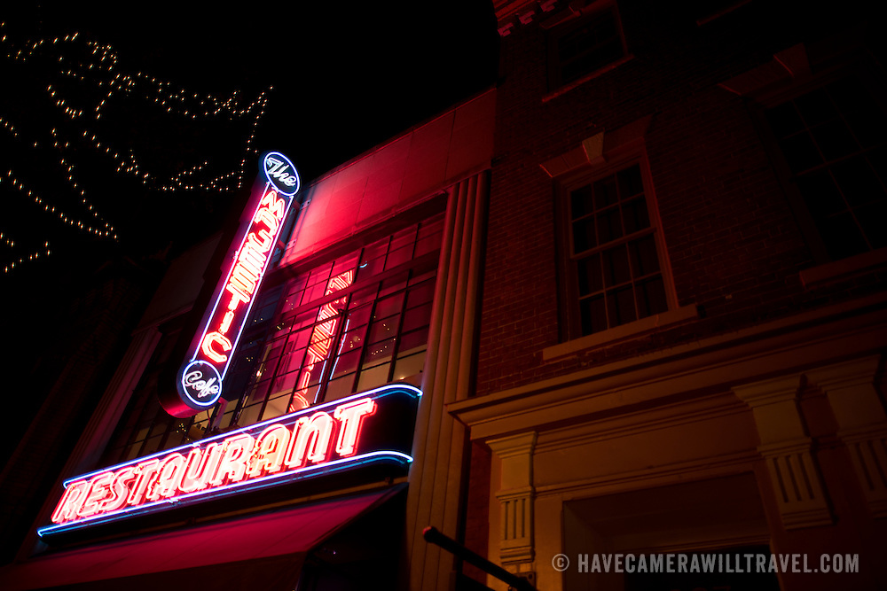 The historic neon sign of the Majestic Cafe in Old Town, Alexandria, Virginia. The sign, along the restaurant, dates back to the 1930s.