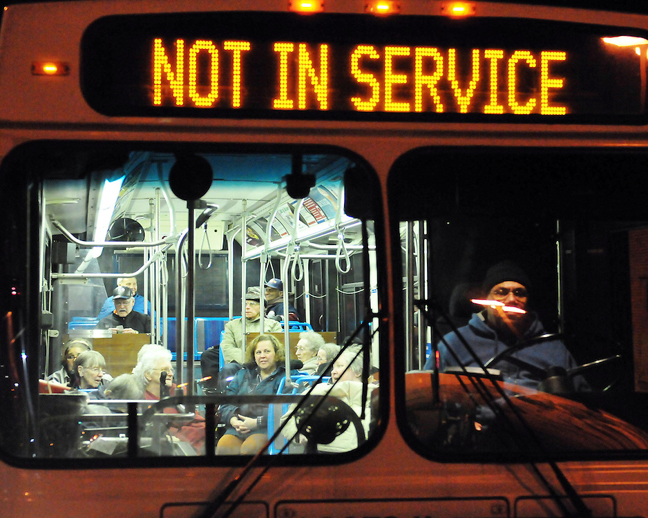 2/9/2011 Allentown, PA Emergency crews respond to a massive explosion Wednesday night in the area of 13th and Allen Street. Evacuees wait in a bus for transportation the Allentown Fair Grounds evacuation center. Express-Times Photo |CHRIS POST