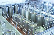 Stainless steel fermentation tanks. Herdade da Malhadinha Nova, Alentejo, Portugal