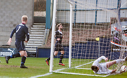 Falkirk's Rory Loy cele scoring their third goal into the sun.<br /> Raith Rovers 2 v 4 Falkirk, Scottish Championship game today at Starks Park.<br /> © Michael Schofield.