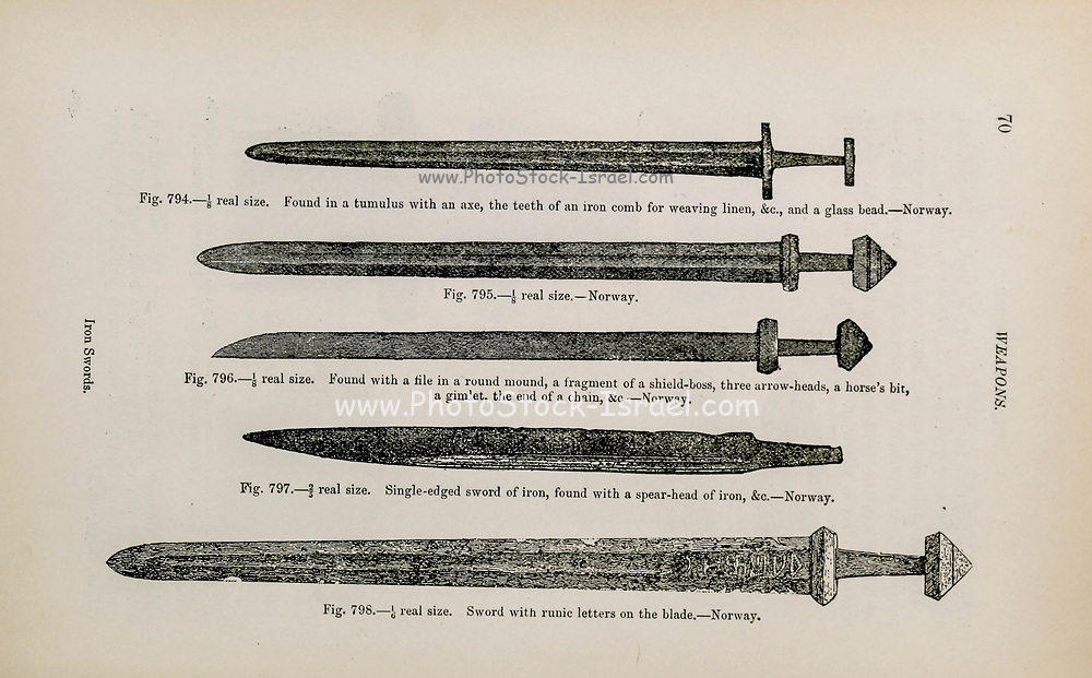 Viking Age Iron Swords from the book ' The viking age: the early history, manners, and customs of the ancestors of the English-speaking nations ' Volume 2 by Du Chaillu, Paul B. (Paul Belloni), Published in New York by  C. Scribner's sons in 1890