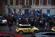 Pro EU supporters demonstrate outside the European Commission HQ in London, UK on 31st January, 2020. The United Kingdom formally leaves the European Union at 23:00 GMT today.