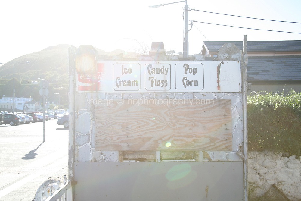 Ice Cream shop at Bray Promenade County Wicklow Ireland with lens flare