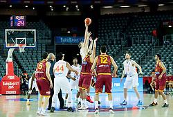 06-09-2015 CRO: FIBA Europe Eurobasket 2015 Nederland - Macedonie, Zagreb<br /> Henk Norel of Netherlands vs Predrag Samardziski of Macedonia during basketball match between Netherlands and Macedonia at Day 2 in Group C of FIBA Europe Eurobasket 2015, on September 6, 2015, in Arena Zagreb, Croatia. Photo by Vid Ponikvar / RHF