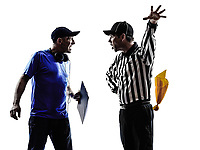 american football referee and coach conflict dispute conflict dispute in silhouette on white background