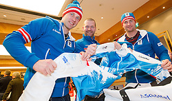 28.01.2014,  Marriott, Wien, AUT, Sochi 2014, Einkleidung OeOC, im Bild vl. Romed Baumann (Ski Alpin, AUT), Klaus Kröll (Ski Alpin, AUT), Georg Streitberger (Ski Alpin, AUT) // Romed Baumann (Ski Alpine, AUT), Klaus Kröll (Ski Alpine, AUT) and Georg Streitberger (Ski Alpine, AUT) during the outfitting of the Austrian National Olympic Committee for Sochi 2014 at the  Marriott in Vienna, Austria on 2014/01/28. EXPA Pictures © 2014, PhotoCredit: EXPA/ JFK