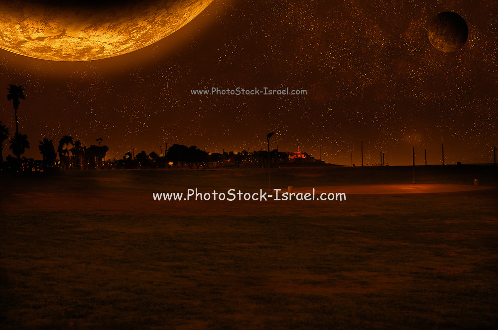 Digitally enhanced image of an alien landscape with a large planet and moon