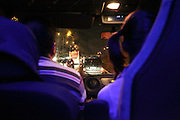 driving in a traffic jam seen from inside a car