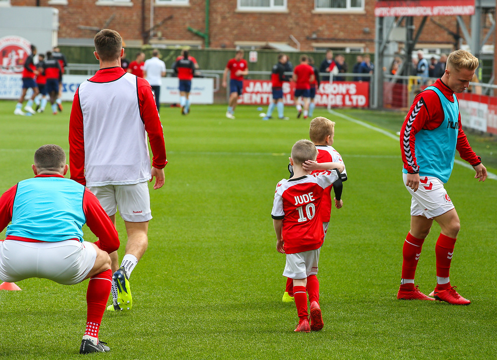 Fleetwood Town mascots warm up with the players<br /> <br /> Photographer Alex Dodd/CameraSport<br /> <br /> The EFL Sky Bet League One - Fleetwood Town v Accrington Stanley - Saturday 15th September 2018  - Highbury Stadium - Fleetwood<br /> <br /> World Copyright © 2018 CameraSport. All rights reserved. 43 Linden Ave. Countesthorpe. Leicester. England. LE8 5PG - Tel: +44 (0) 116 277 4147 - admin@camerasport.com - www.camerasport.com
