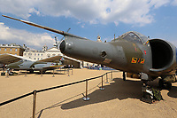 Gloster Meteor F4, Hawker Siddeley Harrier GR3, RAF100 Aircraft Tour London, Horse Guards, Whitehall, Westminster, London, UK, 05 July 2018, Photo by Richard Goldschmidt, To celebrate the Centenary of the Royal Air force The RAF100 Aircraft Tour is a public display of iconic RAF aircraft in city locations around the country.