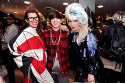 Left to right, GRACE WOODWARD, KATE MOROSS and JODIE HARSH at a party to celebrate the Firetrap Watches and Kate Moross Collaboration Launch, held at Firetrap, 21 Earlham Street, London, UK on 13th October 2010.