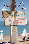 Hand drawn drinks signs at a lido in Cyprus.