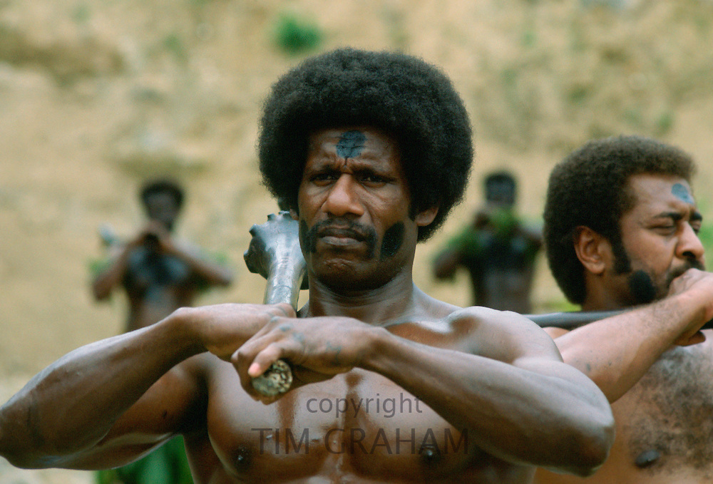 A traditional Fijian Warrior Guard, Fiji, South Pacific