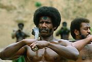 A traditional Fijian Warrior Guard, Fiji, South Pacific