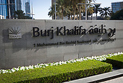 Sign outside of the famous Burj Khalifa, the tallest building in the world, as of 2021