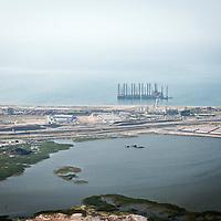 Baku, Azerbaijan, 25 July 2012<br /> Aerial view of an oil exploitation platform close to Baku.<br /> Photo: Ezequiel Scagnetti