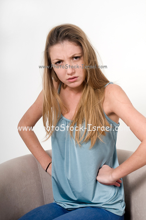 Angered teen On white Background