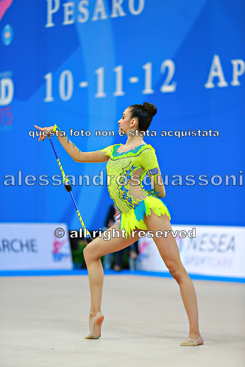 Alevrogianni Korina during qualifying at clubs in Pesaro World Cup 11 April 2015. Korina  was born on 5 June,1997 in Athens. She is a Greek individual rhythmic gymnast.