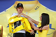 Podium, Hotess, miss, Geraint Thomas (GBR - Team Sky) Yellow jersey during the 105th Tour de France 2018, Stage 15, Millau - Carcassonne (181,5 km) on July 22th, 2018 - Photo Luca Bettini / BettiniPhoto / ProSportsImages / DPPI