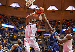 Dec 1, 2019; Morgantown, WV, USA; West Virginia Mountaineers forward Derek Culver (1) shoots in the lane during the second half against the Rhode Island Rams at WVU Coliseum. Mandatory Credit: Ben Queen-USA TODAY Sports