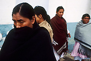 06 JANUARY 1994 - SAN CRISTOBAL DE LAS CASAS, CHIAPAS, MEXICO: Mexican Indian women in San Cristobal de las Casas, Chiapas, Mexico, Jan. 6, 1994 during the Zapatista uprising. The Zapatistas captured and held San Cristobal for about a day at the beginning of the uprising. PHOTO BY JACK KURTZ